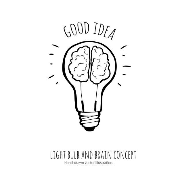 Lâmpada e o cérebro. Idéia conceito. Ilustração feita à mão. - ilustração de arte em vetor