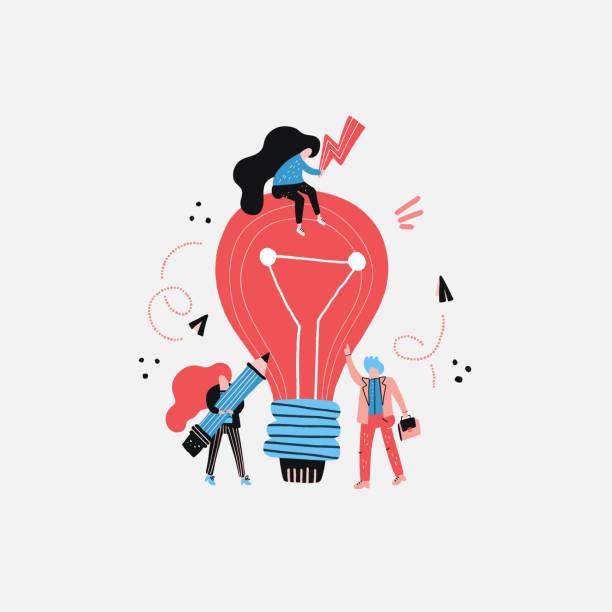 illustrazioni stock, clip art, cartoni animati e icone di tendenza di lightbulb and workers - ispirazione