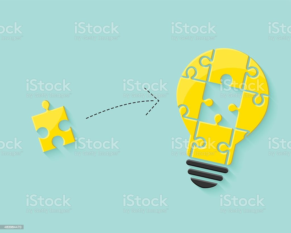 Lightbulb as idea and problem solving concept vector art illustration