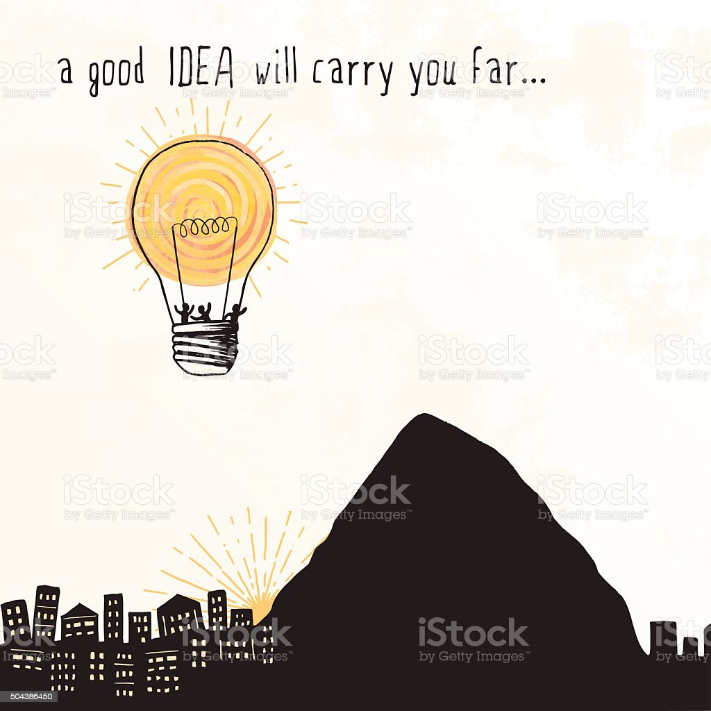 Lightbulb Balloon - 'A good idea will carry you far...' vector art illustration