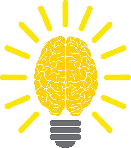 Lightbulb brain, eureka! vector art illustration
