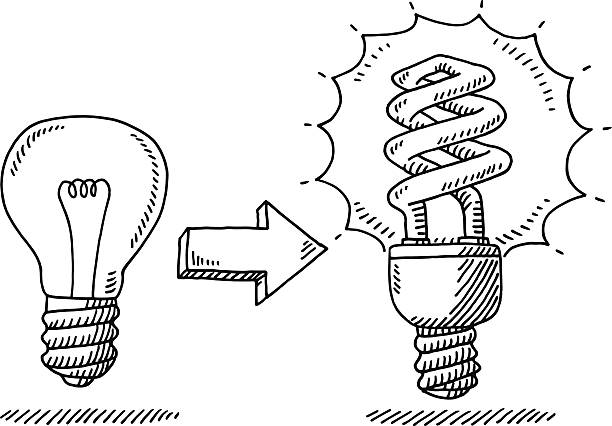 Lightbulb Change Energy Saver Drawing Hand-drawn vector drawing of a Lightbulb Change Concept, an old incandescent light bulb was switched off, a new Energy Saver Light Bulb was switched on. Black-and-White sketch on a transparent background (.eps-file). Included files are EPS (v10) and Hi-Res JPG. environment stock illustrations