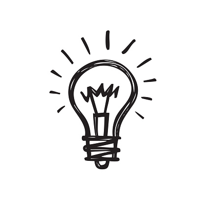 Lightbulb - creative sketch draw vector illustration. Electric lamp sign.