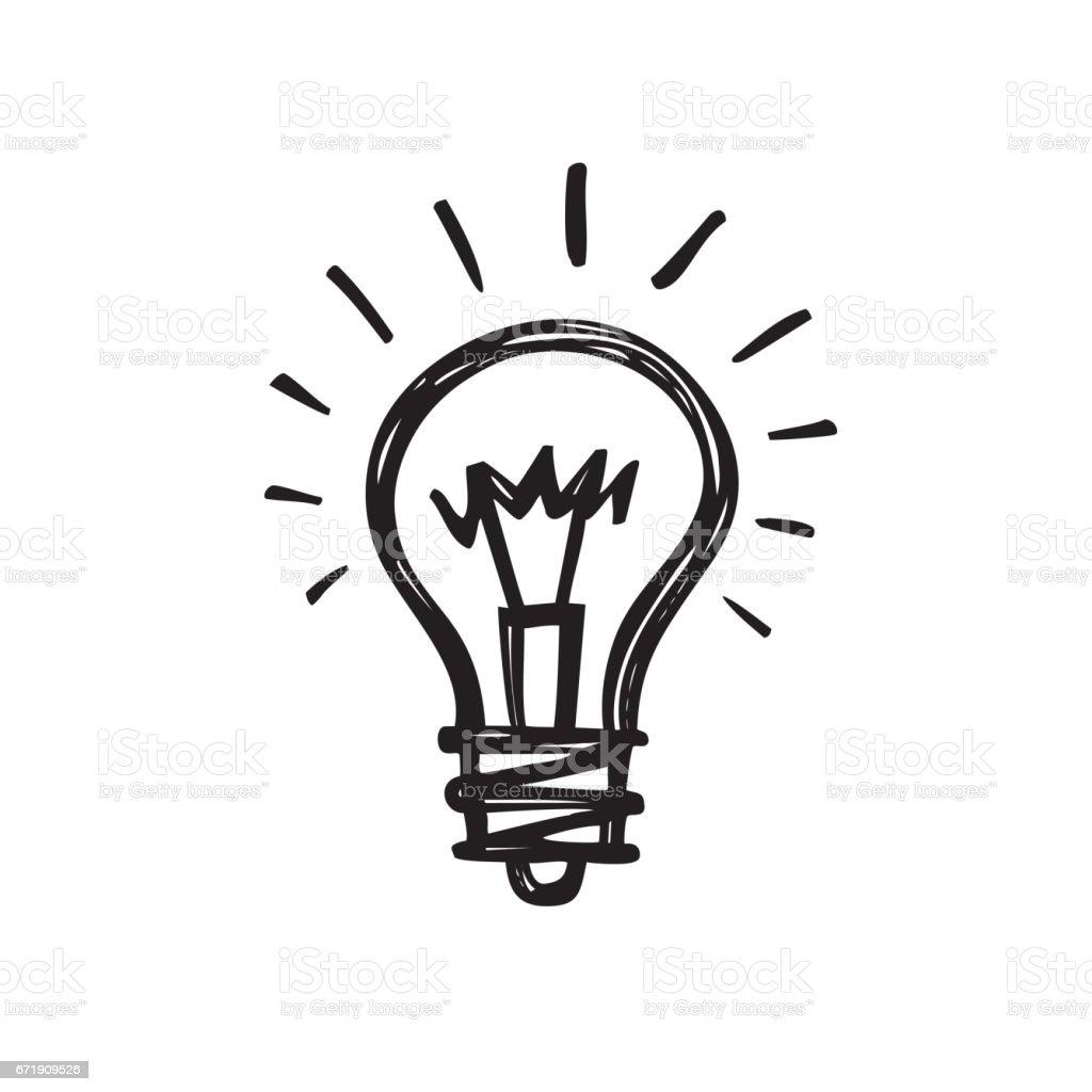 Bombilla - ilustración de vector draw dibujo creativo. Señal de la lámpara eléctrica. - ilustración de arte vectorial
