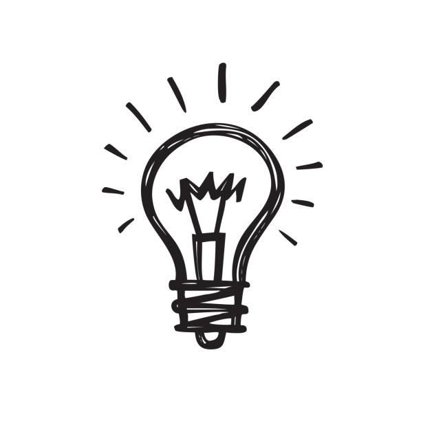 bildbanksillustrationer, clip art samt tecknat material och ikoner med glödlampa - kreativa skiss rita vektorillustration. elektrisk lampa tecken. - idé