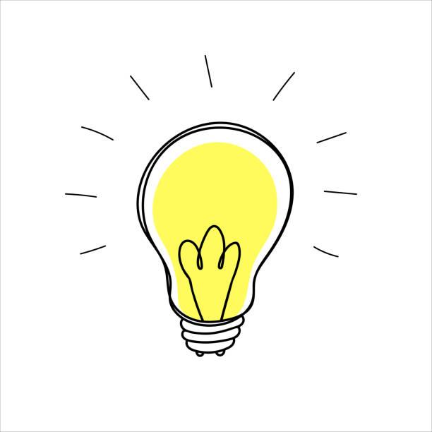 glühbirne doodle in einem naiven handgezeichneten stil - glühbirne stock-grafiken, -clipart, -cartoons und -symbole