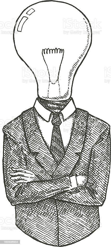 Lightbulb Head, Big Ideas Concept Art vector art illustration