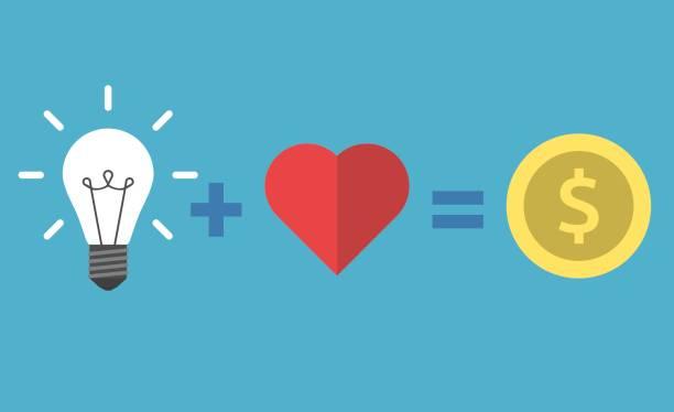 illustrations, cliparts, dessins animés et icônes de ampoule, coeur et argent - entrepreneur
