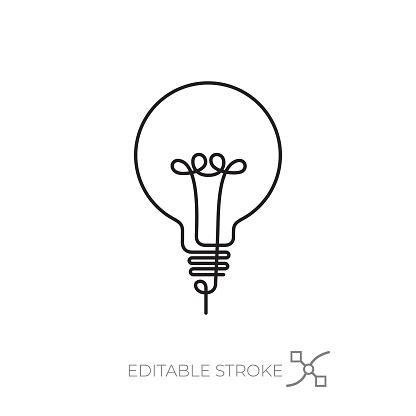 Lightbulb icon editable stroke