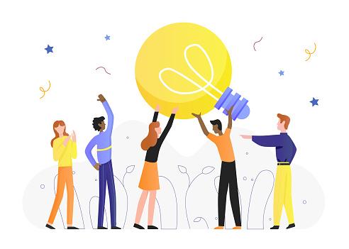 Lightbulb idea concept vector illustration, cartoon flat tiny man woman characters hold lamp light bulb, create of innovative ideas isolated on white