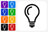 Lightbulb Idea Icon Square Button Set. The icon is in black on a white square with rounded corners. The are eight alternative button options on the left in purple, blue, navy, green, orange, yellow, black and red colors. The icon is in white against these vibrant backgrounds. The illustration is flat and will work well both online and in print.
