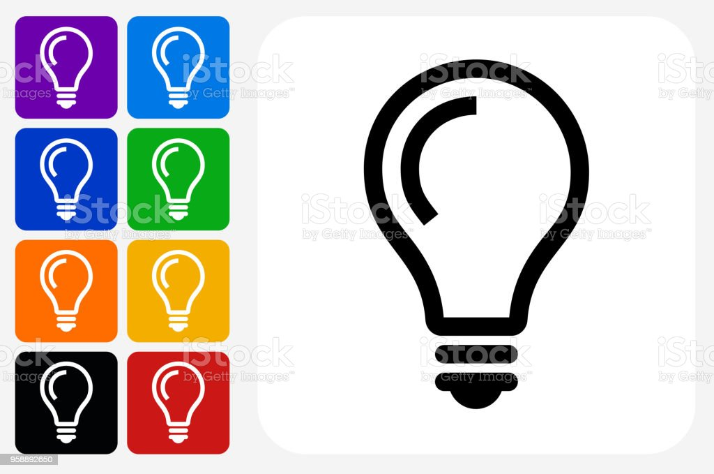 Glühbirne Idee Symbol Square Buttonset – Vektorgrafik