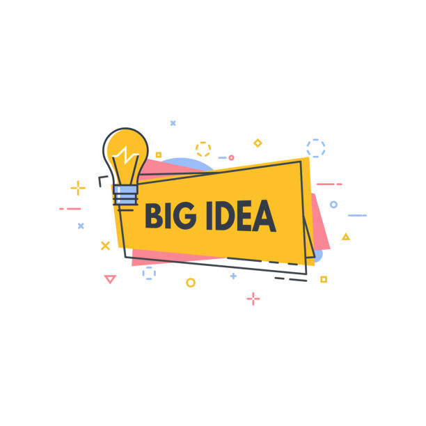 Lightbulb idea line banner Big idea line style banner. Good idea or quick tip speech bubble. Consultant badge with text. Creativity and innovations line style concept. stunt stock illustrations