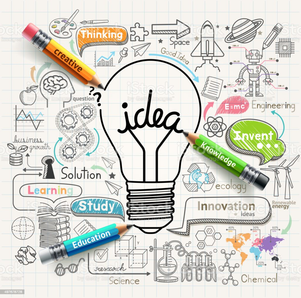 Lightbulb ideas concept doodles icons set. vector art illustration