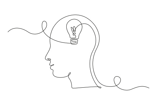 Lightbulb in head in One single Line drawing for logo, emblem, web banner, presentation. Simple creative idea and imagine concept. Vector illustration.