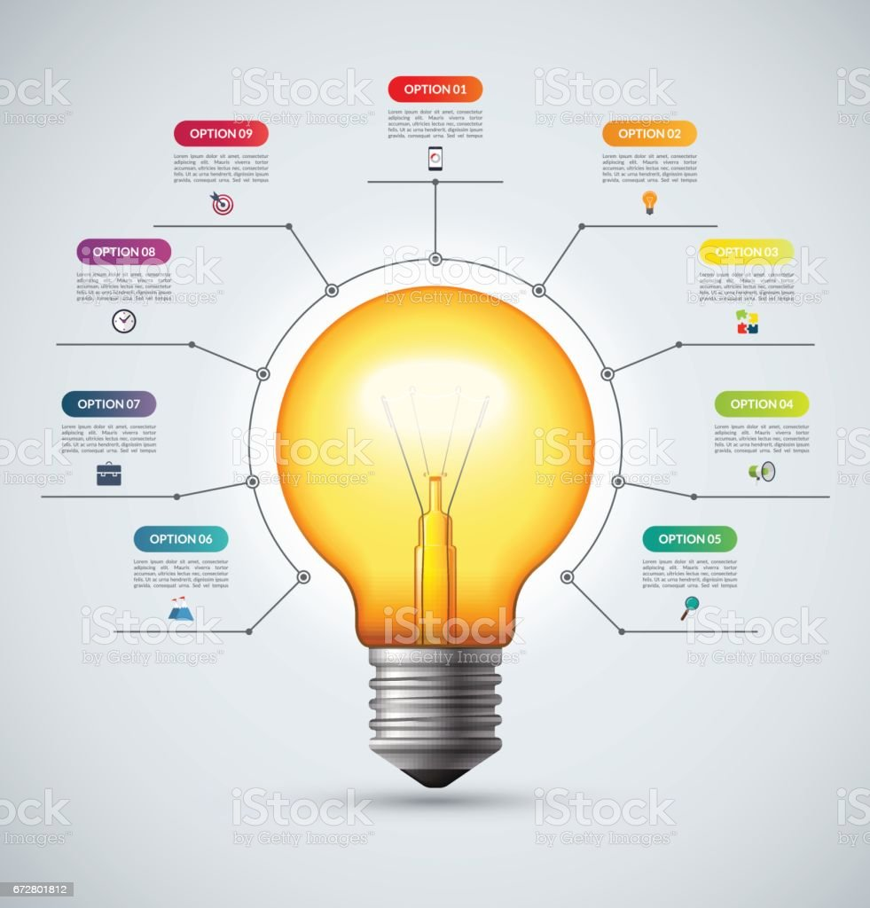 Lightbulb Infographic Template With 9 Options Creative Idea Concept Incandescent Light Bulb Diagram Can Be Used For Circular