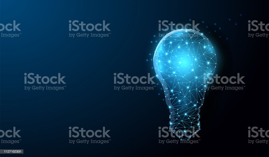Lightbulb low poly design with connecting dots, stars royalty-free lightbulb low poly design with connecting dots stars stock illustration - download image now