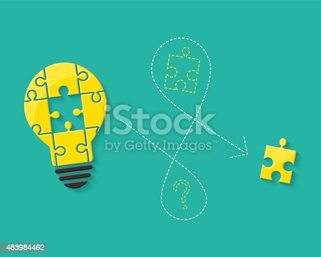 Lightbulb with missing puzzle piece as idea, problem solving and solution method concept.