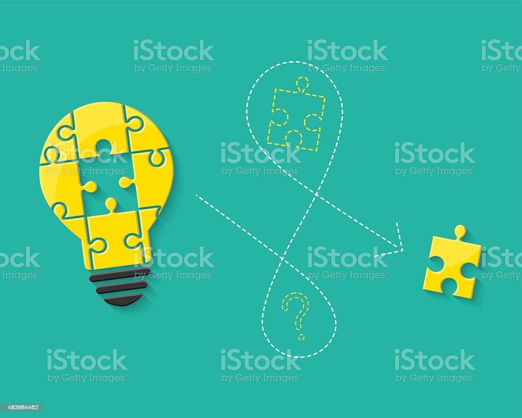 Lightbulb made of puzzle as idea concept vector art illustration