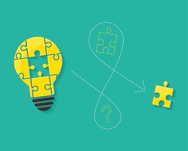 glühbirne aus puzzle als idee konzept - gelöst stock-grafiken, -clipart, -cartoons und -symbole