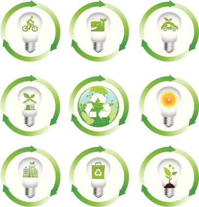lightbulb of green energy icons with arrows