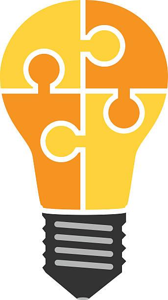 Lightbulb of puzzle pieces Yellow light bulb consisting of puzzle pieces isolated. Idea, business, solution, work, insight, brainstorm concept. Flat style. EPS 8 vector illustration, no transparency aha stock illustrations