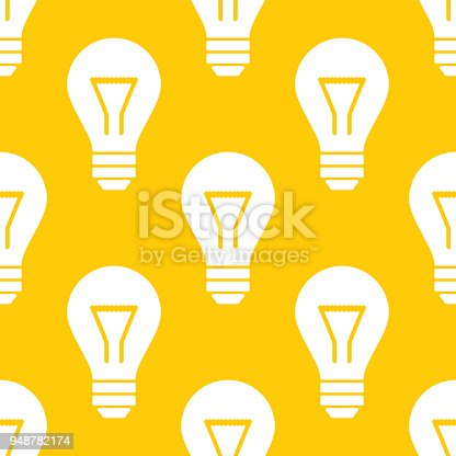 Vector illustration of lightbulbs in a repeating pattern against a yellow background.