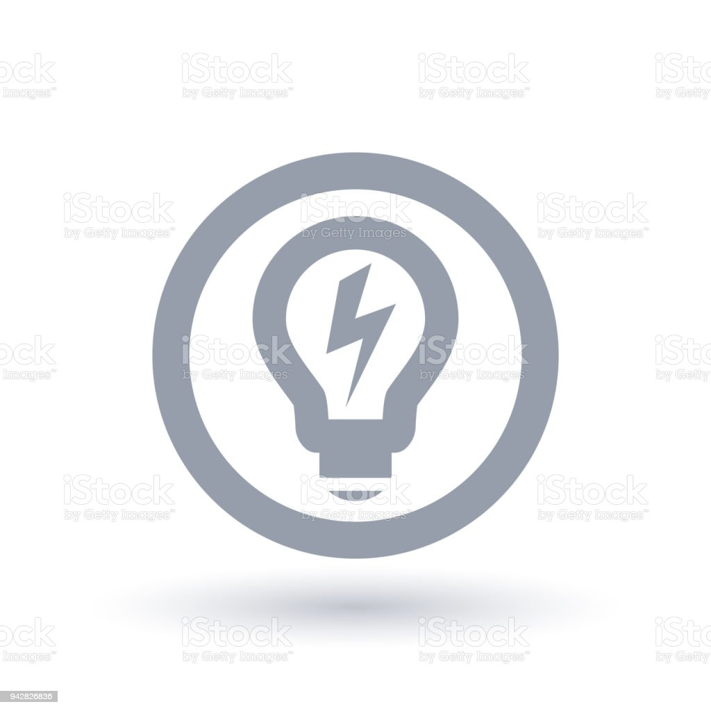 Lightbulb Power Icon Light Energy Symbol Electricity Sign Stock ...