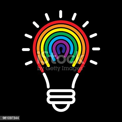 Vector illustration of a rainbow striped lightbulb against a black background.
