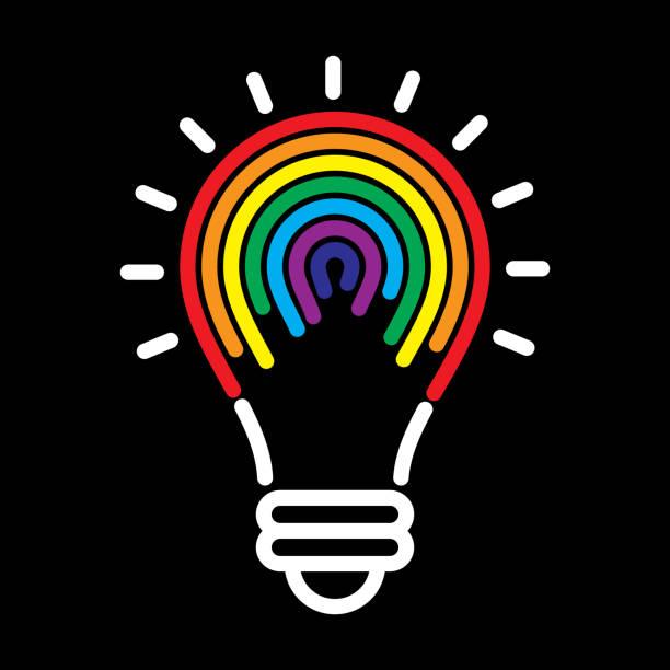 ilustrações, clipart, desenhos animados e ícones de arco-íris lightbulb - lgbt