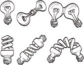 Light bulb and spiral bulbs sketches. AI, PDF and PNG of each sketch included.
