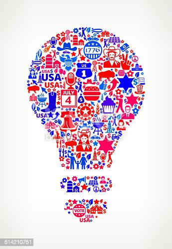 Lightbulb on U.S.A Icon Pattern