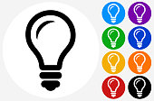 Lightbulb..The icon is black and is placed on a round blue vector button. The button is flat white color and the background is light. The composition is simple and elegant. The vector icon is the most prominent part if this illustration. There are eight alternate button variations on the right side of the image. The alternate colors are orange, red, purple, yellow, black, green, blue and indigo.