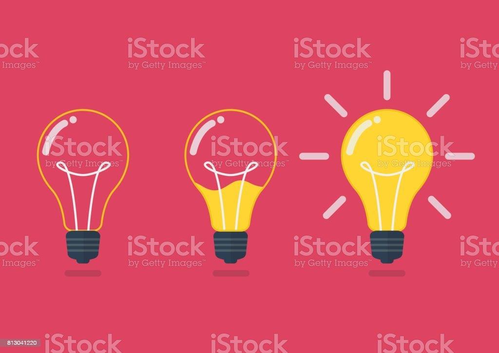 Lightbulb with liquid inside vector art illustration