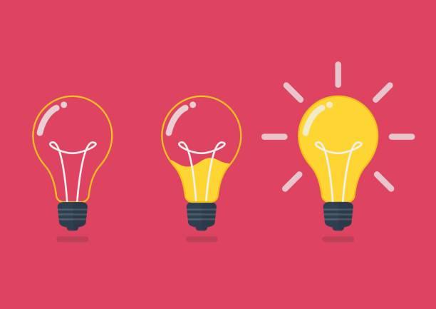 lightbulb with liquid inside - inspiration stock illustrations