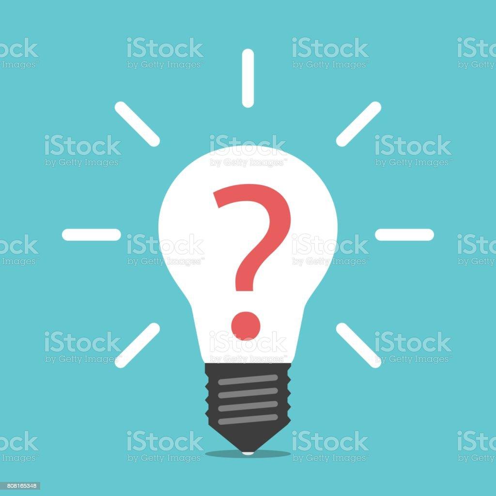Lightbulb with question mark vector art illustration