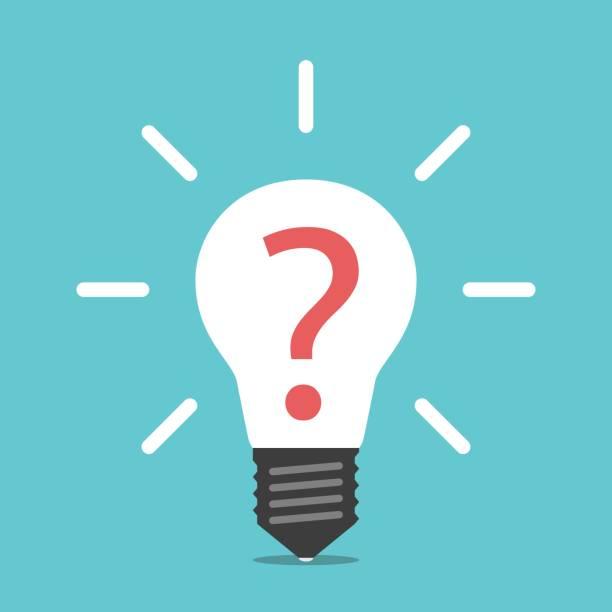 Glühbirne mit Fragezeichen – Vektorgrafik