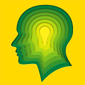 Lightbulb within human profile shape. Deep paper layered cut out art in origami style. Vector illustration of creative thinking, concept of innovation idea for cards, posters, flyers, stickers.