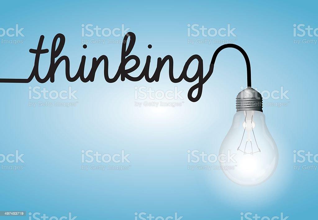 Lightbulb word thinking royalty-free stock vector art
