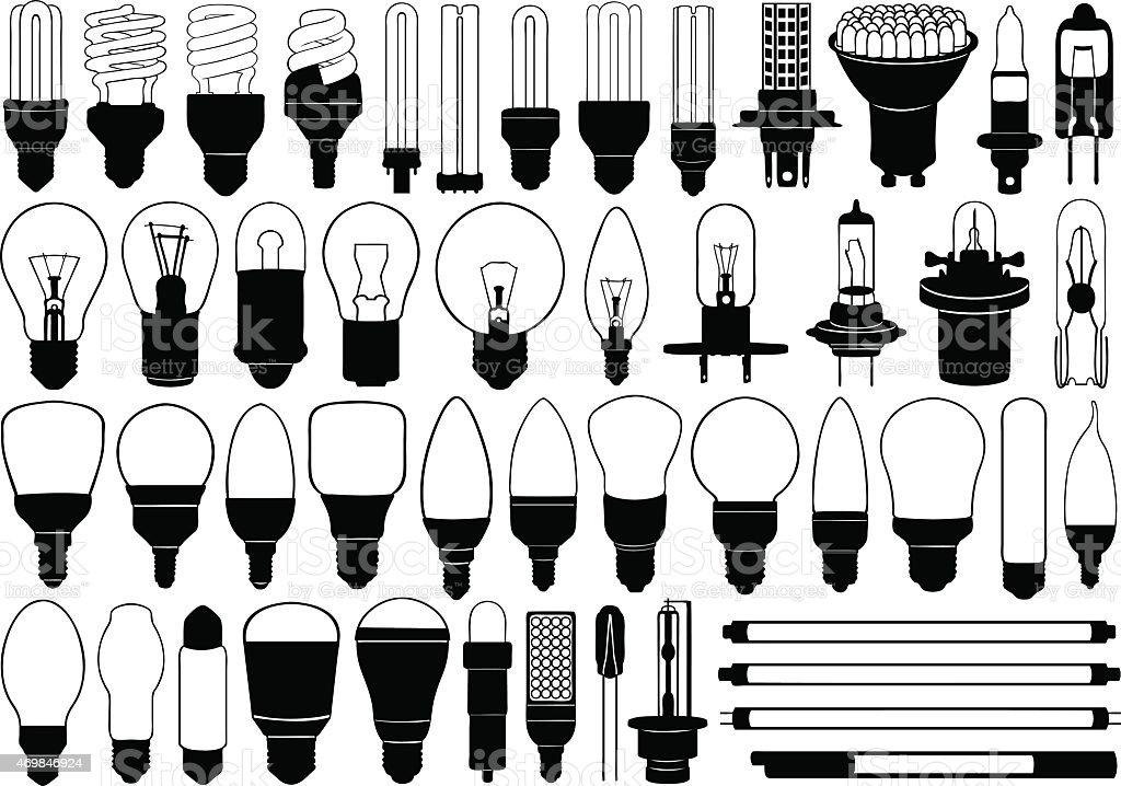 Lightbulbs are shining so bright vector art illustration