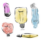 Vector illustration of a set of hand drawn light bulbs in a cartoon and watercolor style