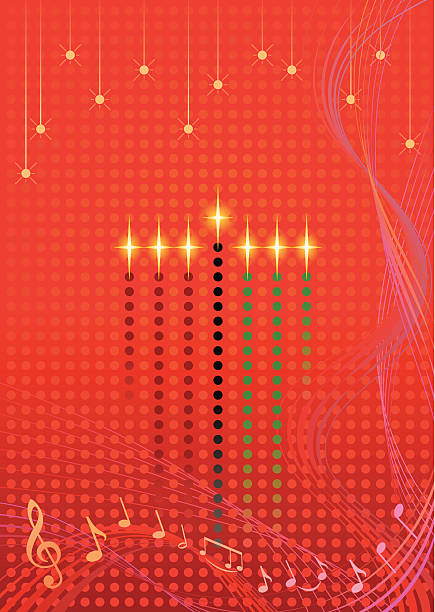 Lighted Candles Kwanzaa Art Vector vector art illustration