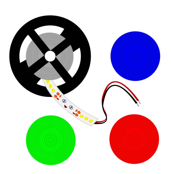 light-emitting diode strip reel multicolored round patterns blue green and red - stripped pattern stock illustrations, clip art, cartoons, & icons