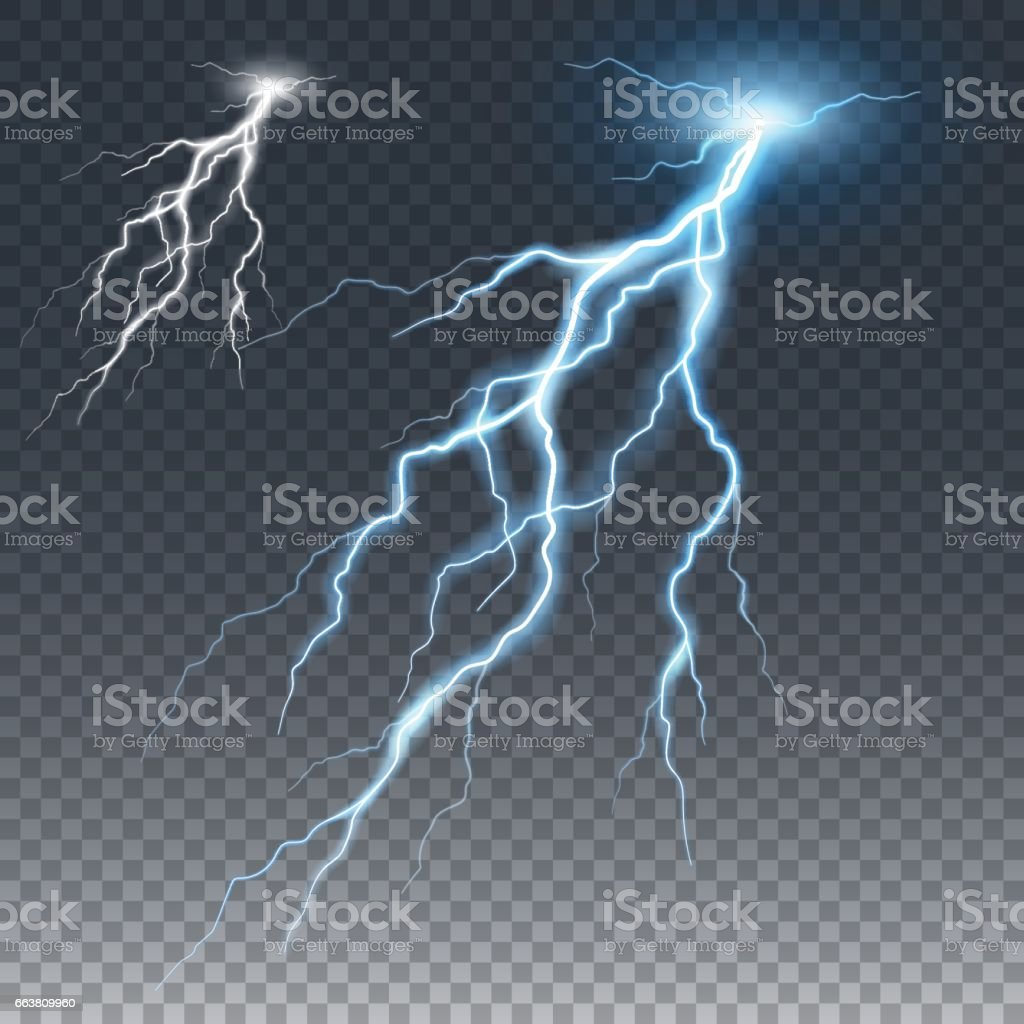 Lightening and thunder bolt, glow and sparkle effect vector art illustration