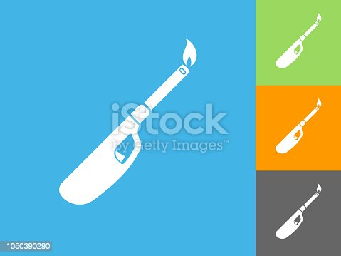 Lighter  Flat Icon on Blue Background. The icon is depicted on Blue Background. There are three more background color variations included in this file. The icon is rendered in white color and the background is blue.