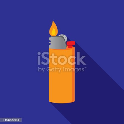 Vector illustration of an orange lighter against a blue background in flat style.