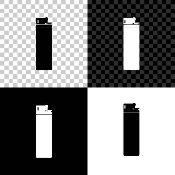 leichtere ikone isoliert auf schwarzem, weißem und transparentem hintergrund. vektorabbildung - feuerzeuggas stock-grafiken, -clipart, -cartoons und -symbole