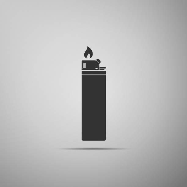leichtere symbol isoliert auf grauem hintergrund. flaches design. vektor-illustration - feuerzeuggas stock-grafiken, -clipart, -cartoons und -symbole