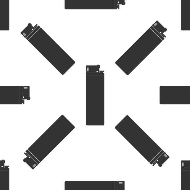 leichtere symbol nahtlose muster auf weißem hintergrund. flaches design. vektor-illustration - feuerzeuggas stock-grafiken, -clipart, -cartoons und -symbole