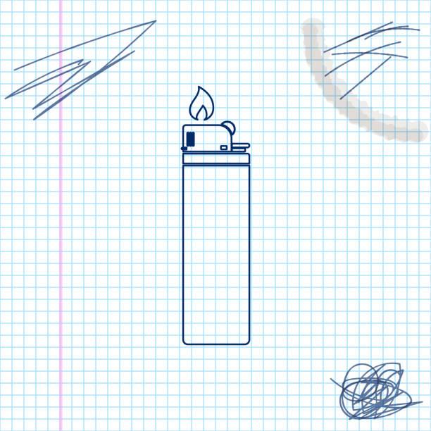 leichtere linie skizze symbol isoliert auf weißem hintergrund. vektor-illustration - feuerzeuggas stock-grafiken, -clipart, -cartoons und -symbole